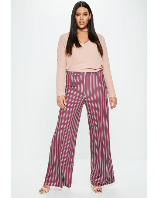Missguided - Red Curve Burgundy Striped Wide Leg Pants - Lyst
