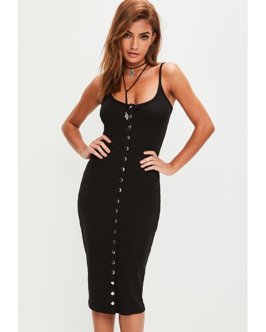 Missguided - Black Bodycon Midi Dress - Lyst