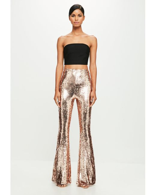 Missguided | Metallic Peace + Love Gold Sequin Trousers | Lyst