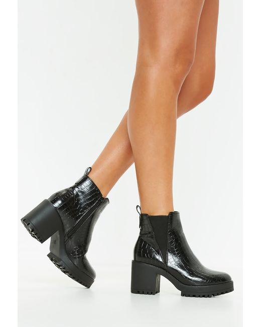 Missguided - Black Croc Chunky Chelsea Ankle Boot - Lyst
