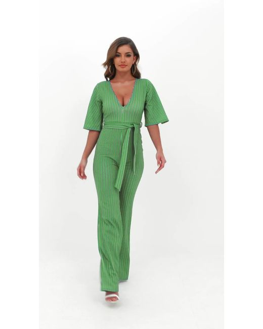 5076eb8073d ... Missguided - Green Stripe Plunge Kimono Stripe Sleeve Jumpsuit - Lyst