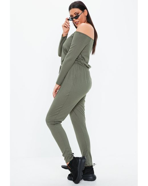 5e7fbf955420 Missguided - Green Plus Size Khaki Ribbed Bardot Jumpsuit - Lyst ...