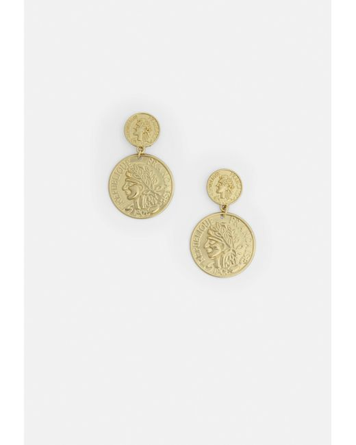 Missguided - Metallic Gold Look Two Coin Drop Earrings - Lyst