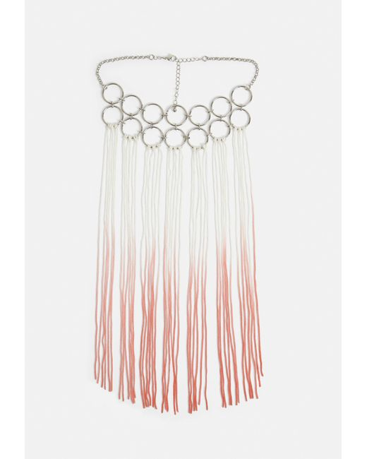 Missguided - Metallic Silver Ring Detail Ombre Tassel Necklace - Lyst