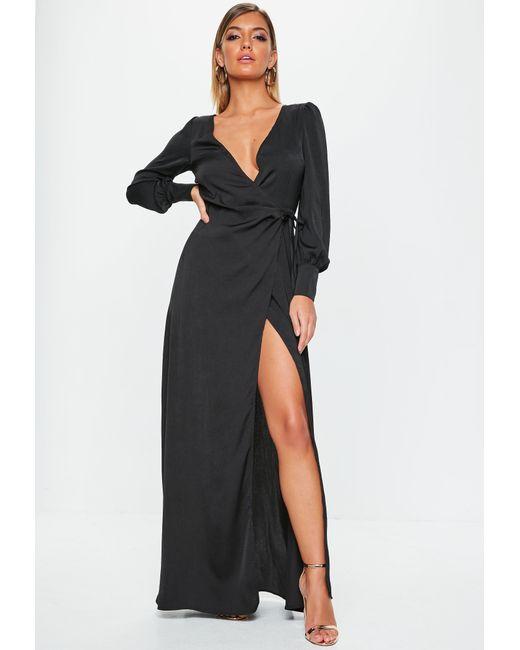 f0b9d1ce72e9 Lyst - Missguided Black Satin Tie Side Maxi Dress in Black