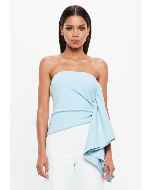 Missguided - Peace + Love Powder Blue Bandeau Side Frill Top - Lyst