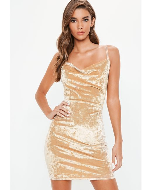 2d3be90eb8 Missguided - Natural Mink Crushed Velvet Cowl Bodycon Dress - Lyst ...