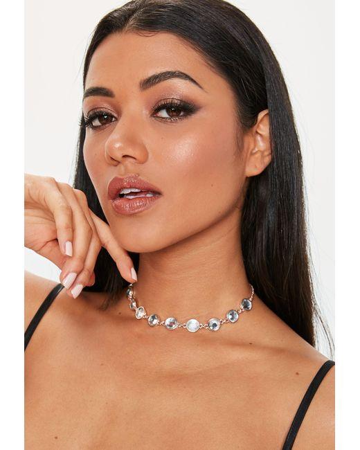 Missguided - Metallic Rose Gold Diamante Detail Choker - Lyst