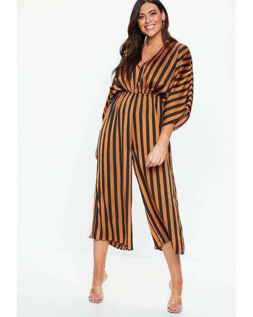 4685dad44ac Missguided - Brown Plus Size Rust Kimono Sleeve Stripe Jumpsuit - Lyst ...