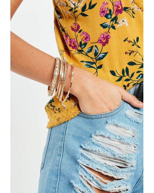 Missguided - Metallic Gold Diamante Bangle Pack - Lyst