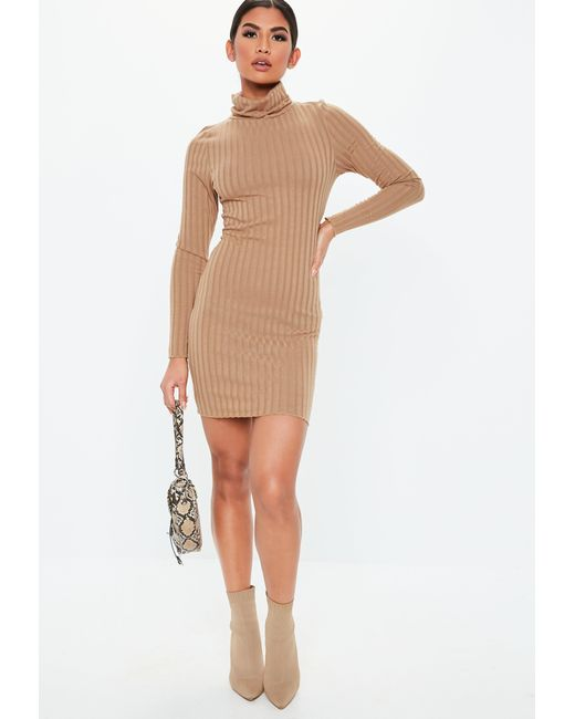 ... Missguided - Natural Camel Ribbed Roll Neck Lettuce Hem Mini Dress -  Lyst ... 7bf003630