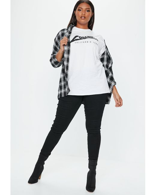 Lyst Missguided Plus Size White Los Angeles Oversized T Shirt In White
