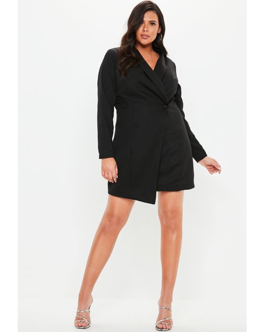 aebfcaa69ba44 ... Missguided - Plus Size Black Asymmetric Blazer Dress - Lyst ...