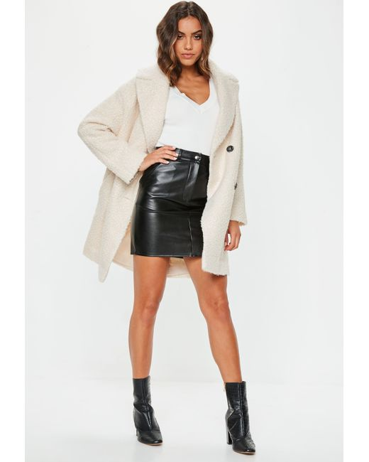 8f5fb5e9c2135 ... Missguided - Natural Cream Oversized Boucle Coat - Lyst ...