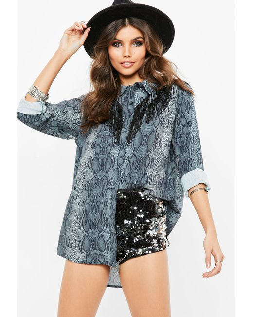 Missguided - Gray Grey Snake Print Double Fringe Chiffon Shirt - Lyst