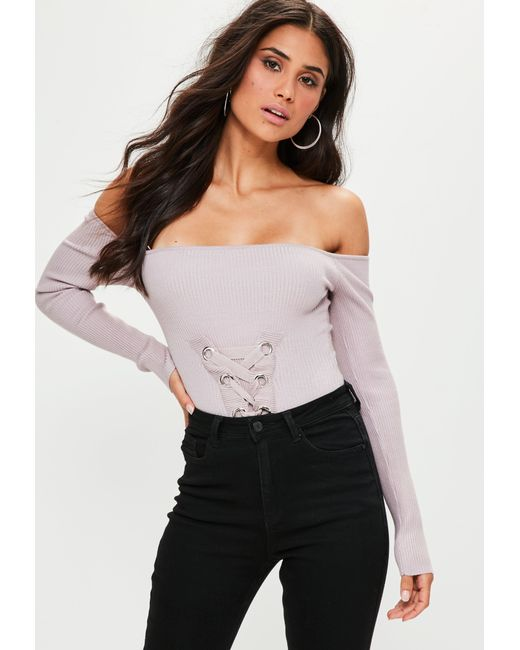 Missguided - Purple Mauve Lace Up Knitted Bodysuit - Lyst