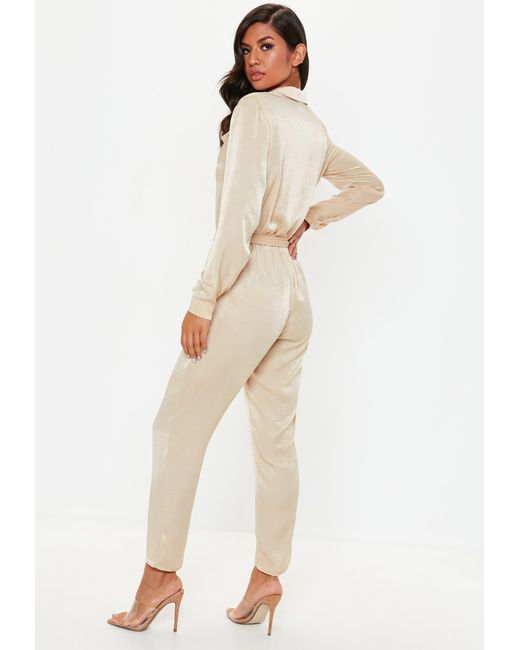 e4bb9689f0c ... Missguided - Natural Nude Peached Satin Utility Jumpsuit - Lyst ...
