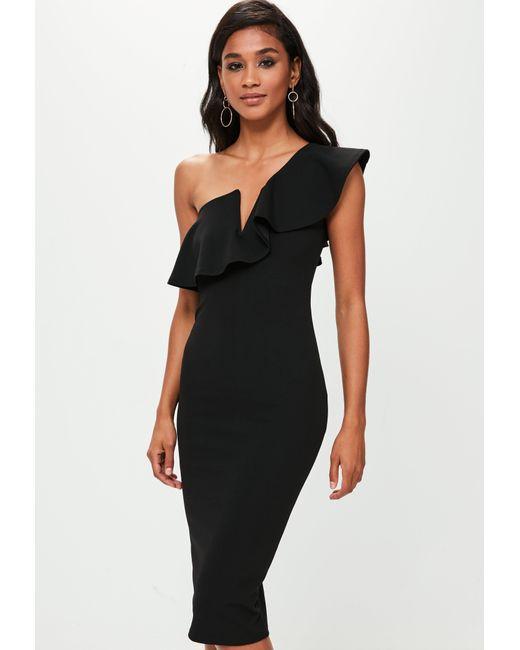 648c224def805 Lyst - Missguided Black One Shoulder Frill Midi Dress in Black ...