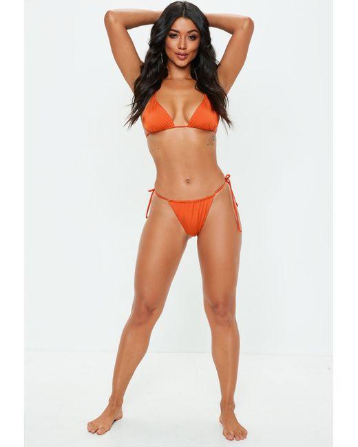 34577fb2a0 Missguided Orange Sheen Micro Bikini Thong in Orange - Lyst
