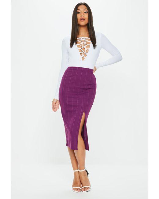 Missguided - Purple Bandage Side Split Midi Skirt - Lyst