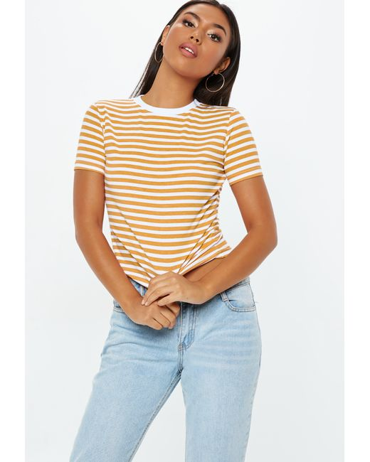 bdcfc6a248a Missguided - Multicolor Mustard Striped Fitted T Shirt - Lyst ...