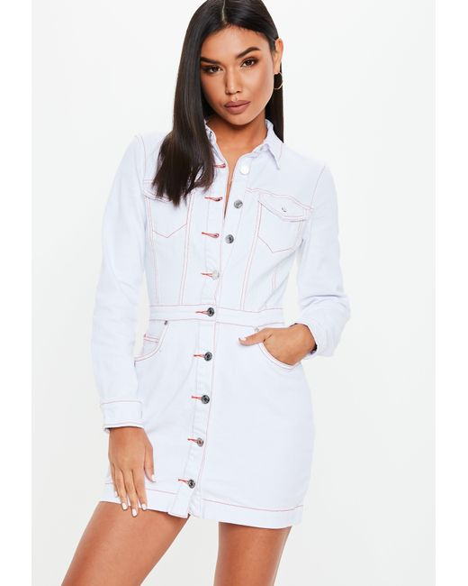 5a0dcb964b47 ... Missguided - Petite White Button Through Contrast Stitch Denim Dress -  Lyst ...