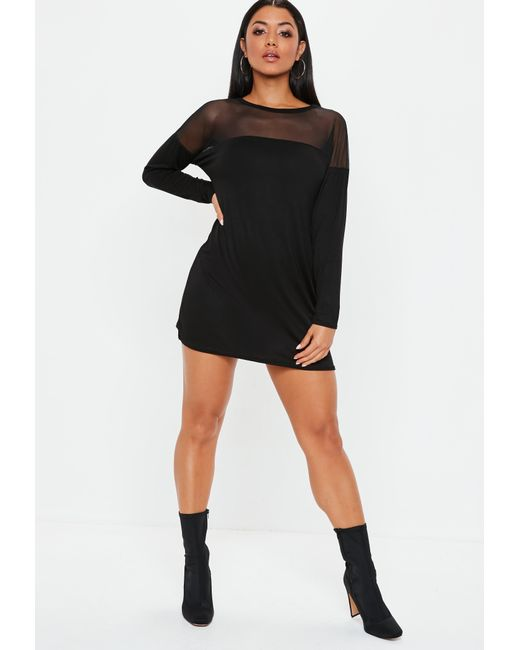 5c7837f4 ... Missguided - Black Mesh Panel Long Sleeve T Shirt Dress - Lyst ...