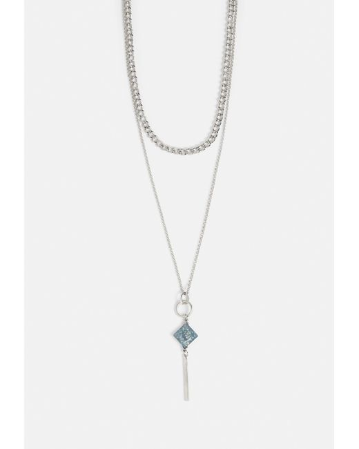 Missguided - Metallic Silver Chain Gem Necklace - Lyst