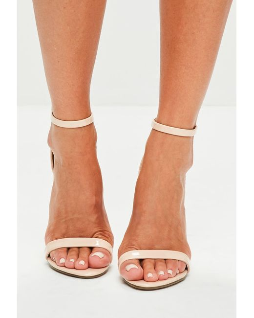 92cd39b0584 ... Missguided - Natural Nude Patent Ankle Strap Heels - Lyst ...