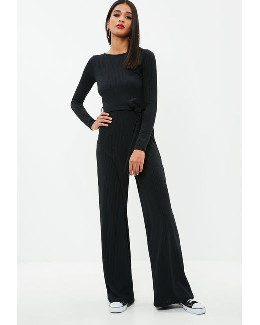 Missguided black ribbed wide leg jumpsuit in black lyst - Jumpsuit hochzeit ...