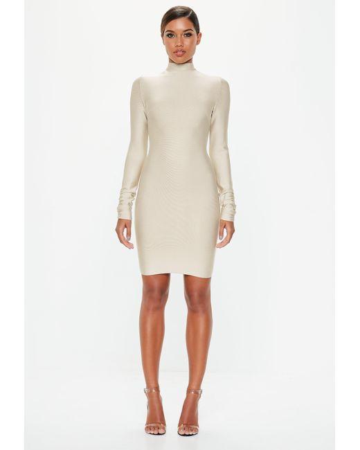 9ab626845ab60 ... Missguided - White Ivory Bandage Ruched Sleeve Dress - Lyst ...