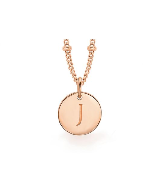 Missoma - Metallic Rose Gold J Initial Necklace - Lyst
