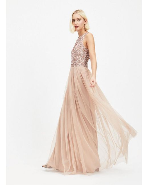 Miss Selfridge Multicolor Maya Cut Out Back Sequin And Tulle Maxi Dress