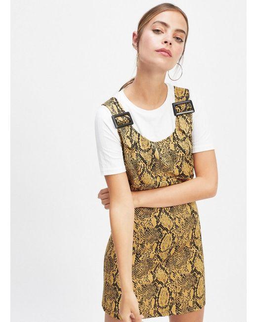 88f740a33f86 Miss Selfridge - Black Petite Multi Colour Animal Print Jacquard Pinafore  Dress - Lyst ...