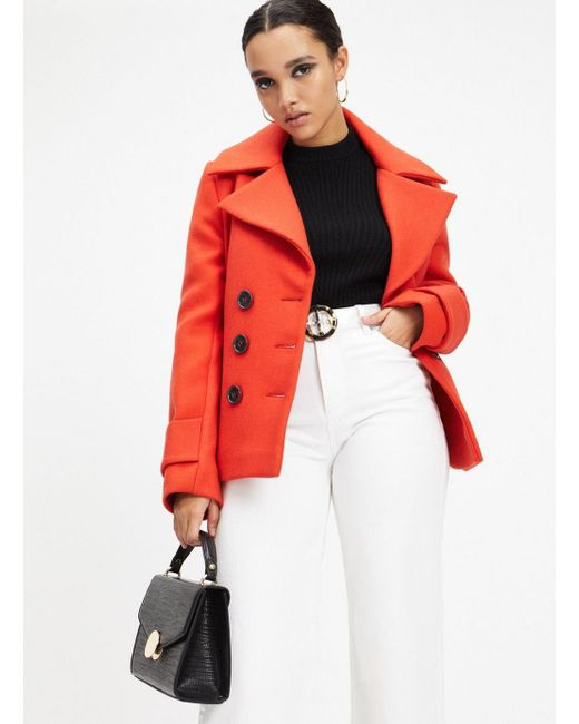 31969bb2d14 Miss Selfridge Red Short Pea Coat in Red - Save 40% - Lyst
