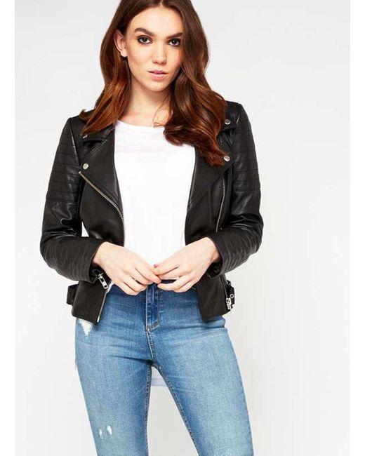 Miss Selfridge | Black Premium Leather Biker Jacket | Lyst