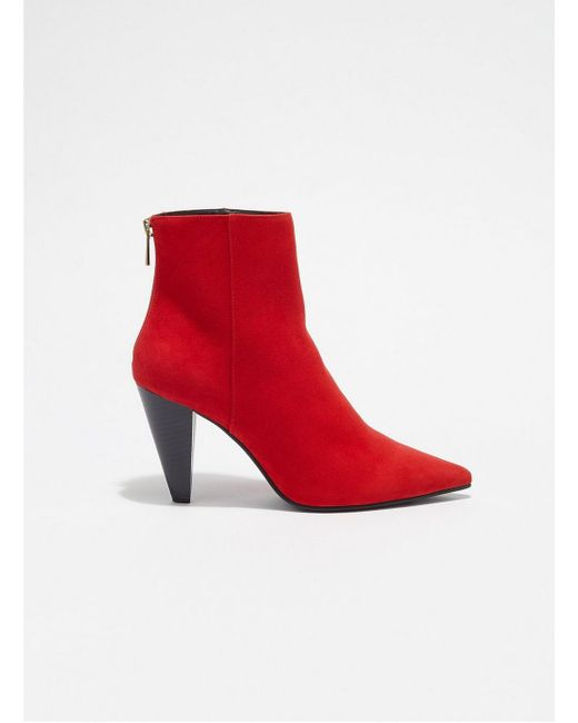 Miss Selfridge - Red Ally Cone Heel Ankle Boots - Lyst