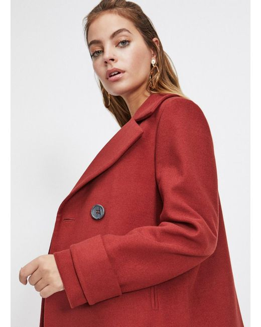 9f3719d3ad2 ... Miss Selfridge - Red Petite Rust Mini Pea Coat - Lyst ...