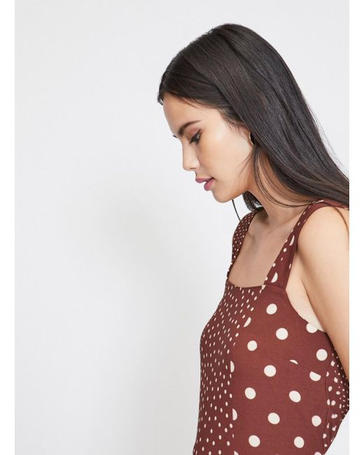 5e3b59aa2ca ... Miss Selfridge - Brown Chocolate Spotted Pinafore Jumpsuit - Lyst ...