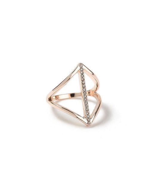 Miss Selfridge - Metallic Rhinestone Ring - Lyst