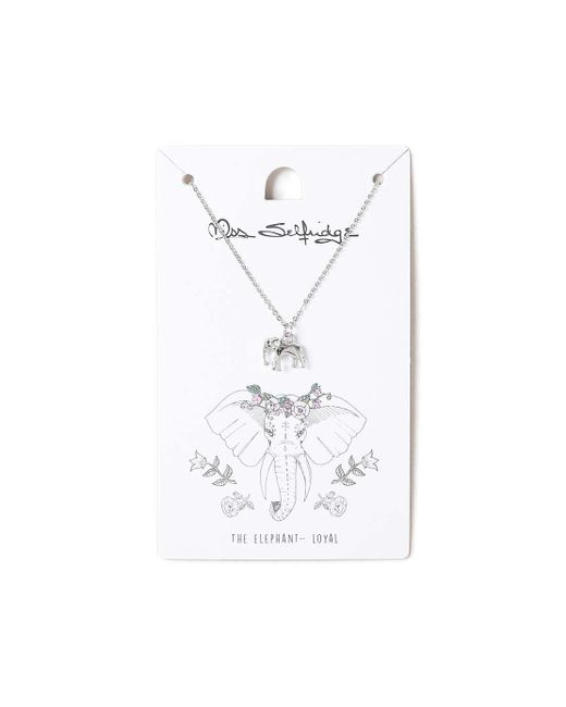 Miss Selfridge | Metallic Elephant Spirit Animal Ditsy Necklace | Lyst