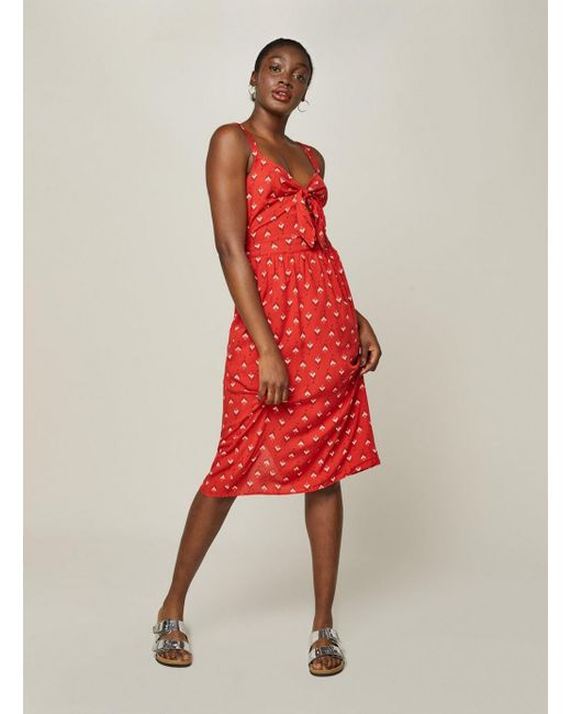 Miss Selfridge - Red Tile Print Camisole Midi Dress - Lyst