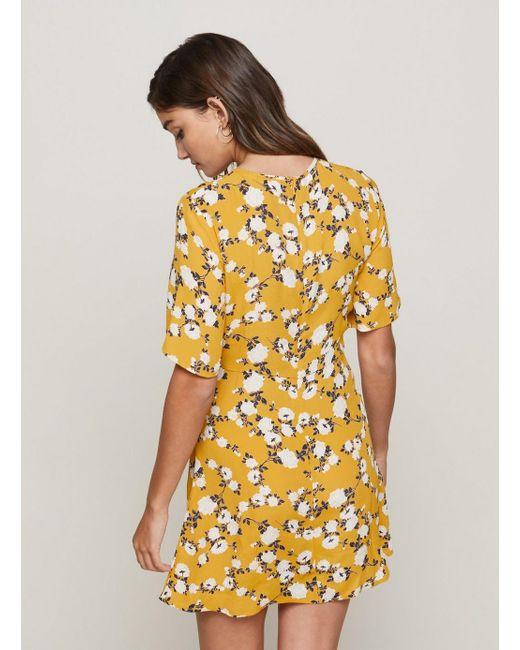 451ae4b664 Miss Selfridge Ochre Tie Front Dress in Yellow - Save 33% - Lyst