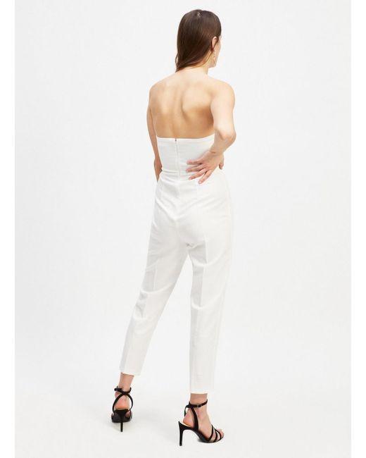 2d3f522279f5 ... Miss Selfridge - White Button Bandeau Jumpsuit - Lyst ...