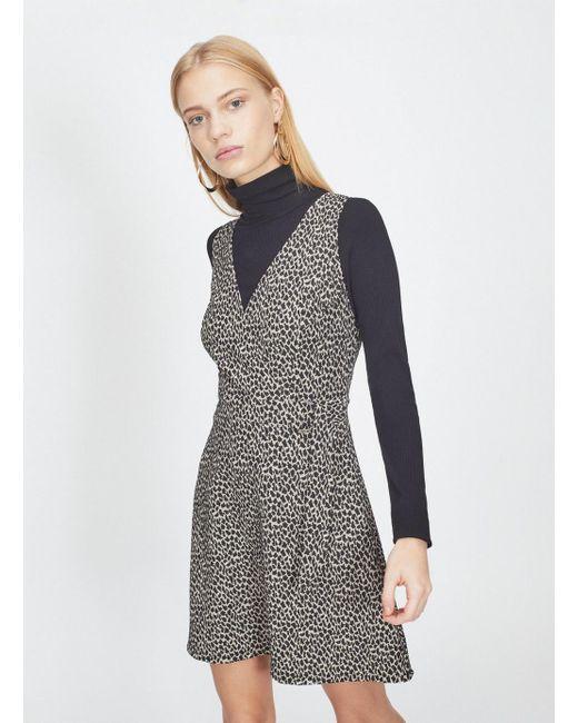 18a19eeb86d4 Miss Selfridge - Brown Animal Print Jacquard D-ring Pinafore Dress - Lyst  ...