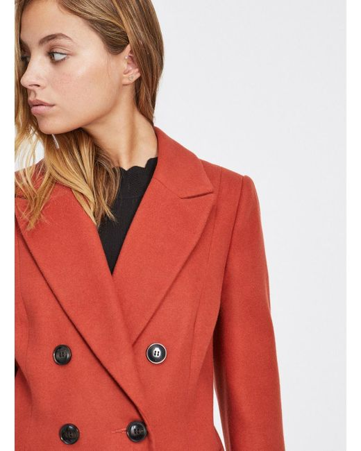 730e443daeb ... Miss Selfridge - Red Petite Rust Smart Double Breasted Coat - Lyst ...