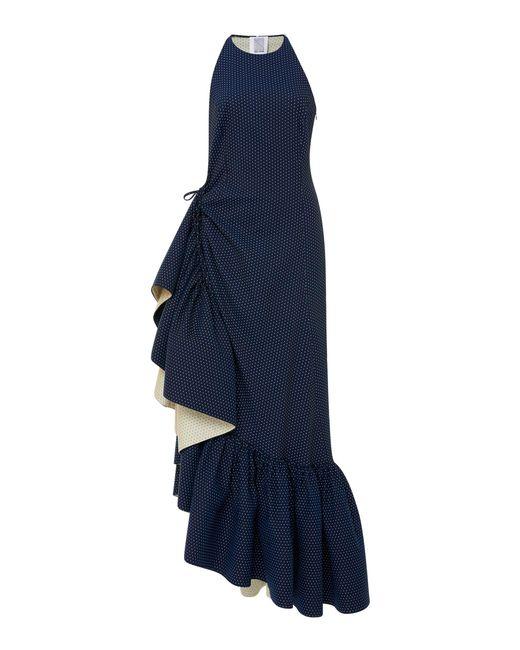 Rosie Assoulin - Blue Ruffled Polka-dot Cotton-blend Maxi Dress - Lyst