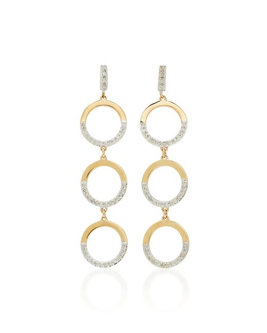 Mateo - White 14k Gold Tiered Hoop Drop Earrings - Lyst