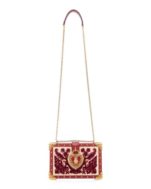 Dolce   Gabbana Heart Lock Wood Box Clutch in Red - Save 14% - Lyst a6ca578ec91ca