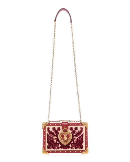 6d33e6defbd9 Dolce   Gabbana Heart Lock Wood Box Clutch in Red - Save 14% - Lyst